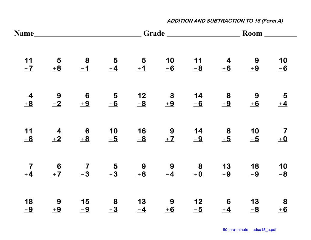 math worksheet : math fact fluency practice : Addition And Subtraction Fact Worksheets